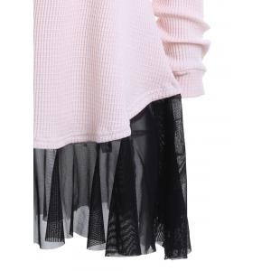 Vampire Lips Batwing Sleeve Halloween Sweater - LIGHT PINK S