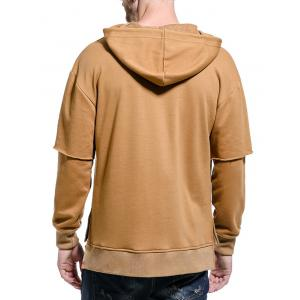 Drop Shoulder Panel Long Sleeve Embroidered Hoodie - KHAKI M