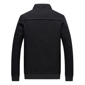 Epaulet Rib Panel Zip Up Jacket - BLACK 4XL