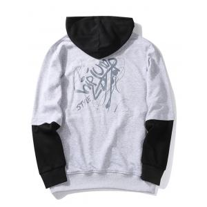 Graphic Print Color Block Pullover Hoodie - GRAY M