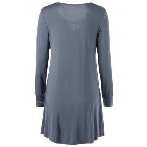 Long Sleeve Cut Out Front Tie Mini Dress - GRAY 2XL