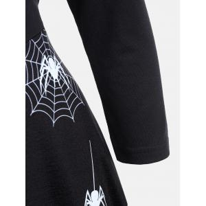 Halloween Spider Web Print Casual Flare Dress - BLACK S