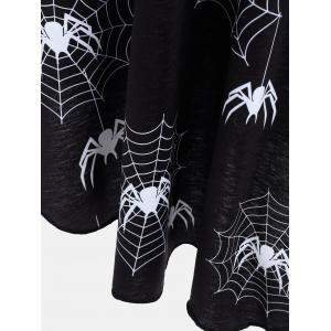 Halloween Spider Web Print Casual Flare Dress - BLACK 2XL