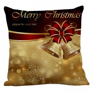 Christmas Bowknot Bells Printed Linen Pillow Case - COLORFUL W18 INCH * L18 INCH