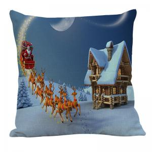 Santa Claus Carriage Snow House Pattern Pillow Case -