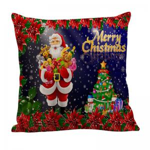 Flowers Santa Claus With Gifts Patterned Pillow Case - COLORFUL W18 INCH * L18 INCH