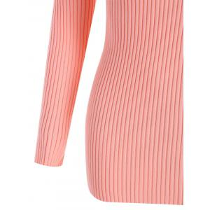 Plus Size Ribbed V Neck Sweater - PINK 5XL