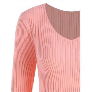 Plus Size Ribbed V Neck Sweater - PINK 4XL
