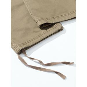 Drawstring Feet Zipper Fly Pockets Cargo Pants - KHAKI 32