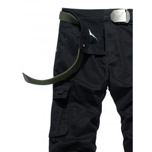 Drawstring Feet Zipper Fly Pockets Cargo Pants - BLACK 34