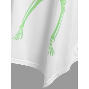 Plus Size Asymmetrical Halloween Skeleton Tee - WHITE XL