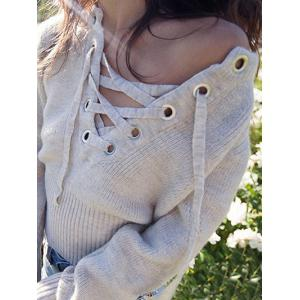 Lace Up Knit Sweater -