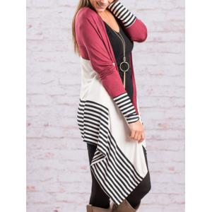 Color Block Handkerchief Cardigan - DEEP RED XL