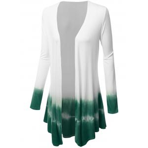 Plus Size Open Front Ombre Duster Coat - GREEN 4XL
