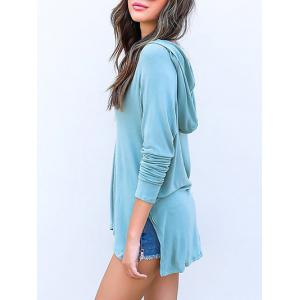 Plunge Side Slit Tunic Hoodie - CLOUDY S