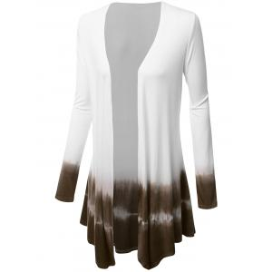 Plus Size Open Front Ombre Duster Coat - TAUPE 4XL
