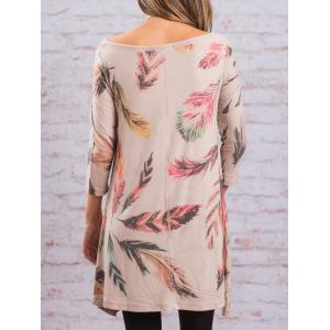 Asymmetric Feather Print Long Tunic Tee - COLORMIX S