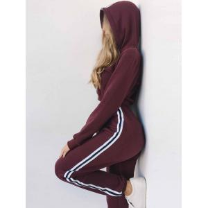 Cropped Hoodie with Jogger Pants - WINE RED XL
