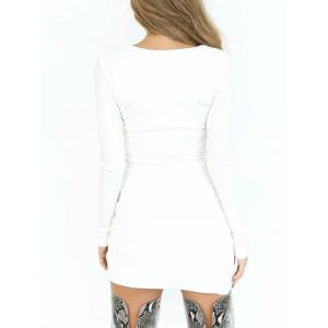 Plunging Neck Bodycon Club Dress - WHITE M