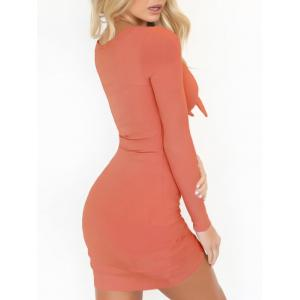 Plunging Neck Bodycon Club Dress - LIGHT ORANGE L