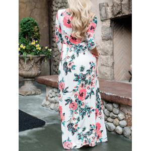 Floral Maxi Prom Dress - WHITE S
