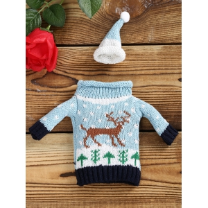Christmas Reindeer Sweater Wine Bottle Cover - CLOUDY 1 SET