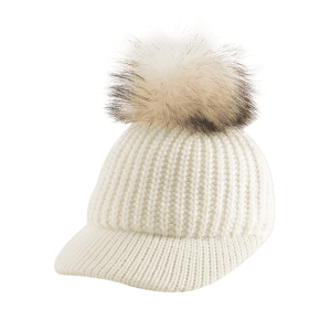 Outdoor Pom Ball Embellished Knit Baseball Hat - OFF-WHITE