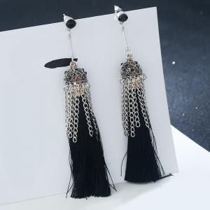 Tiny Rhinestone Alloy Chain Design Tassel Earrings -