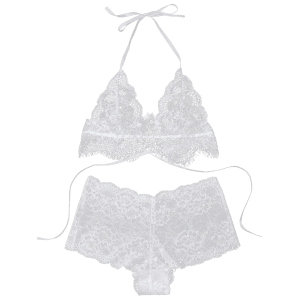 See Through Halter Lace Bralette Set -