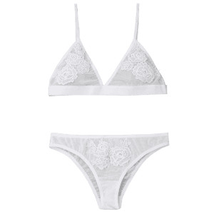 Mesh Triangle Bra Set with Applique - WHITE S