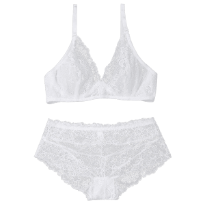 Lace Underwire Balcony Bra Set - WHITE S