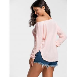 Skew Neck High Low Pullover Sweater - PINK L
