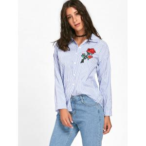 Striped High Low Embroidered Shirt - BLUE S