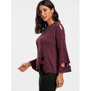 Drop Shoulder Distressed Jumper Sweater - PURPLISH RED ONE SIZE