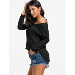 Skew Neck High Low Pullover Sweater - BLACK S