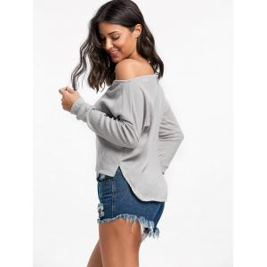 Skew Neck High Low Pullover Sweater - GRAY XL