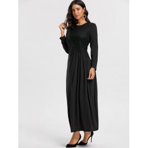 Long Sleeve Ruched Lace Insert Maxi Dress - BLACK M