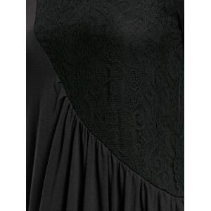 Long Sleeve Ruched Lace Insert Maxi Dress - BLACK XL