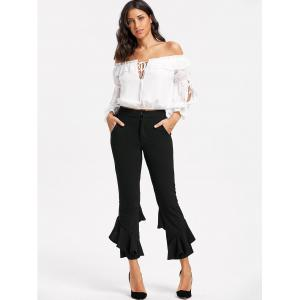 Cropped Layered Flare Pants - BLACK S