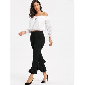 Cropped Layered Flare Pants - BLACK L