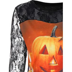 Floral Lace Yoke Halloween Pumpkin Tee - COLORMIX S