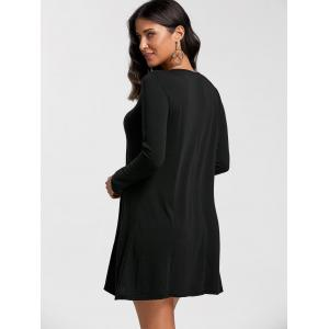 Long Sleeve Mini Swing Babydoll Tee Dress - BLACK XL