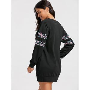 Crew Neck Floral Mini Sweatshirt Dress - BLACK XL