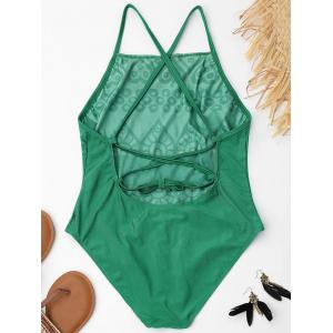 Plus Size Lace Up Embroidered Swimsuit - GREEN 3XL