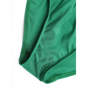 Plus Size Lace Up Embroidered Swimsuit - GREEN 2XL