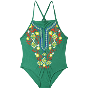 Plus Size Lace Up Embroidered Swimsuit - GREEN XL