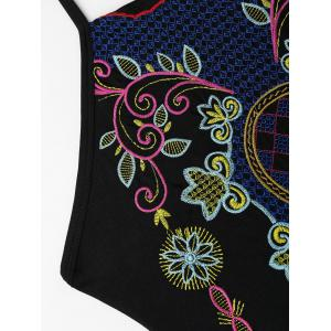 Embroiered Cross Back Plus Size Swimsuit - BLACK 3XL