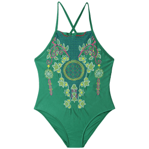 Embroiered Cross Back Plus Size Swimsuit - GREEN 4XL