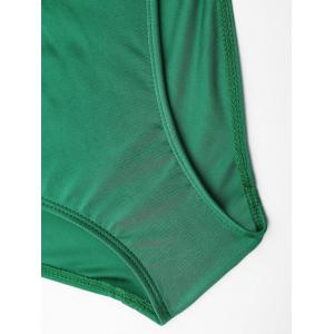 Embroiered Cross Back Plus Size Swimsuit - GREEN 2XL