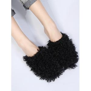 Flat Heel Furry Slippers - BLACK 37